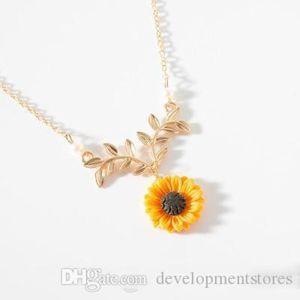 Charme Moda girassol Poder Rose Gold Leaf alta Mulheres pingente de colar longo Charme Qualidade Collar presentes Colar Pingente Agjrp
