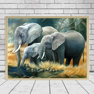 Diy 3D Diamond Painting Elephant Family Animal Handcraft Art Kits Full Drill Square Home Decoration Embroidery Picture
