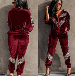 Spring Autumn Velvet Womens Tracksuit Set Jogger Two Piece Set Pants and Top Leopard Patchwork Night Club Outfits Sportswear