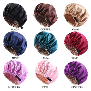 Wholesale Silky Satin Bonnet Hair Cap Double Layer Sleep Night Cap with Invisible Flat Adjusting Button Head Cover Bonnet Hat