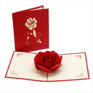 Rosa 3D cartões Cartão Valentim Day Creative Handmade Presentes do Dia dos Namorados para Mulheres DDD4300