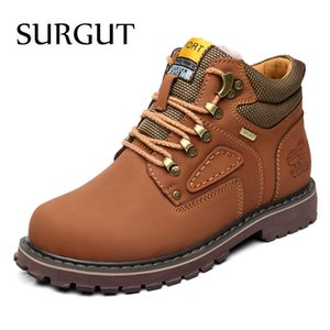 SURGUT Winter New Men Ankle Boots Motorcycle Fur Plush Warm Classic Fashion Snow Boot Autumn Men Casual Outdoor Working Boots 201124