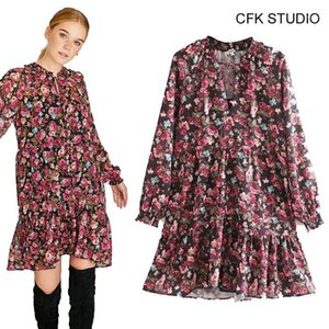 CFK Femmes Robe de coton à manches longues à manches longues à manches longues en V imprimées en V floral 2019 Nouveau automne rose vrac Casual Party MiniDress1