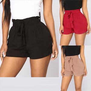 Women shorts Retro Casual Fit Elastic Waist Pocket Shorts High Waist String short Solid Loose j21