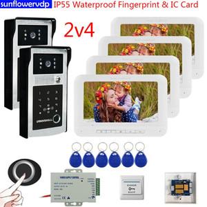 """7 """"Video Intercom IP55 للماء الفيديو إنترفون بصمة رمز IC مع محطة مراقبات محطة للمنزل"""