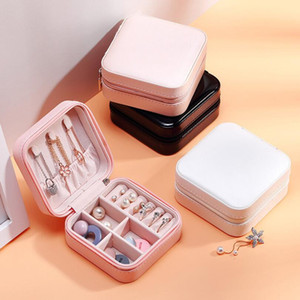 Portable Small Jewelry Box Jewelry Organizer PU Leather Travel Case Display Storage Case Rings Earrings Necklace Storage Boxes CCA12654