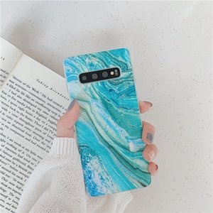 Flykylin Silicone Matte Case For Samsung Galaxy S9 S8 S10 Plus S10e Back Cover Retro Green Blue Art Marble Phone Shell Coque sqcylZ