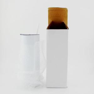 Sublimação em branco copo de aço inoxidável de aço inoxidável garrafa de água copo de carro com palhas caneca caneca de café vidros de vinho Bebida frete de mar A7684