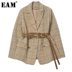 [EAM] Women Plaid Belt Split Temperament Blazer New Lapel Long Sleeve Loose Fit Jacket Fashion Tide Spring Autumn 1R132 201114