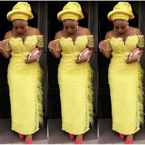 Gorgeous Long Evening Dress Yellow Straight With Feathers Spaghetti Straps Plus Size Aso Ebi Formal Occasion Prom Dresses