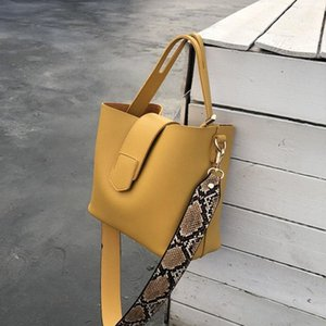 Сумки на ремне Женские кожаные женские сумки мода женские сумки твердого цвета ведра большой емкости