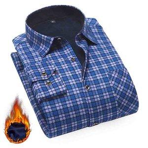 Aoliwen marka erkekler astar pazen dibe kış uzun kollu sıcak ekose erkek artı kadife gömlek