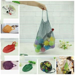 Mesh Net Shopping Bags Fruits Vegetable Portable Foldable Cotton String Reusable Turtle Bags Tote for Kitchen Sundries LXL963-1