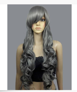 Hot Sale Gray Synthetic Full-Volume Curls Long Wig For Woman