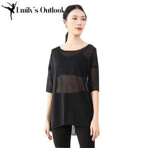 Women's Loose Oversized Baggy Tops Sweater Pullover Dance Blouse T-Shirt Short Sleeve Summer White