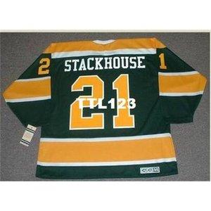 Мужчины # 21 RON Stackhouse California Golden Seals 1970 CCM Vintage Hockey Jersey или пользовательское имя или номер ретро Джерси