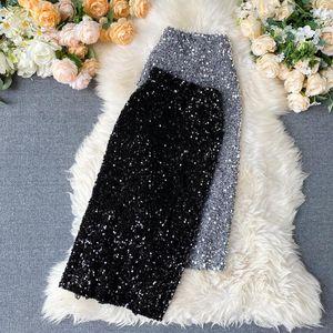 Ftlzz femmes paillettes paillettes jupes de crayon coréen élégant mi-longueur maillot jupe jupe printemps sexy femme tendance taille haute taille shinny jupe