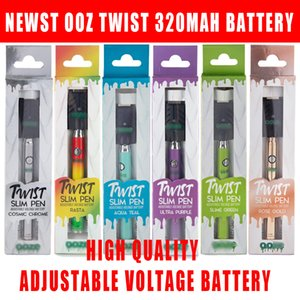 hot selling new package ooz twist 510 thread 320mah vape pen battery 510 battery with USB charger rechargeable adjustable voltage battery