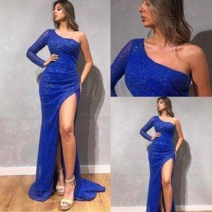 Royal Blue formal dresses One Shoulder Long Sleeves Mermaid Side Split Long Prom Formal Party Dress Bridal Gowns dresses evening wear