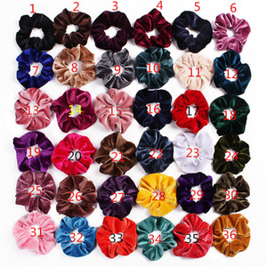 39 Color Mujer Girls Scrunchies Cuerda de cabello Cuerda Luminoso Velvet Elástico Anillo de Pelo Flannel Panal Panallido Círculo Color Sólido Scrunchie Diadema