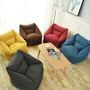 2019 Waterproof Bean Bag Lazy Sofa Indoor Seat Chair Cover Beanbag Sofas Large Bean Bag Cover Armchair Washable Cozy Game Yellow CJ191216