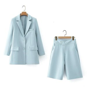 2021 New Elegant Blue Blazer Ladies Thin-skinned Long Female Casual Blazers Chic Jacket Nice Dress Suit Girls PN3C