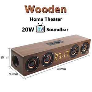 TV en bois 20W Soundbar portable Bluetooth haut-parleur sans fil Colonne sans fil Home Théâtre Basse STEREO SUBWOOFER MULTI-FONCTION AVEC TF FM W8C