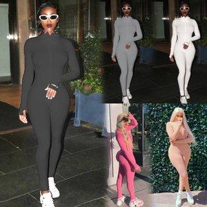 2020 Autumn Woman Solid Turtleneck Long Sleeve Tracksuit Female Tight Jumpsuits Fitness Zipper Bodysuit Gym Suit Skinny