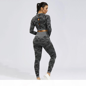 2PCS Camo Seamless Yoga Set Sportswear Women Fitness Clothing Booty Gym Leggings+Long Sleeve Crop Top Sport Suit Workout Clothes MX200329