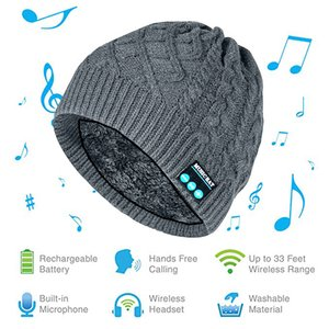 MZ019 BT5.0 Connected One-click Answering  Hanging up Music Winter Knitted Hat Built-in Microphone 200mAh Rechargeable Batter-y