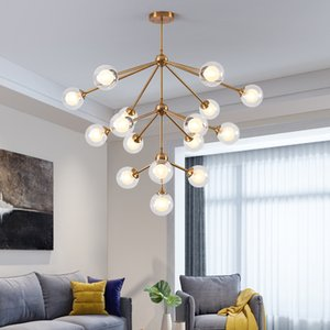 Creative Modern Nordic LED Chandelier Ceiling Simple Glass Ball Gold Art Hanging Light For Cloakroom Porch Corridor Home Deco G9
