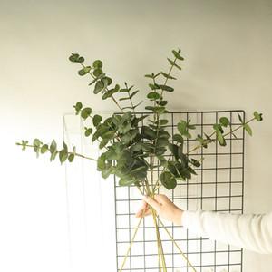 10 unids simulación 3forks eucalyptus hoja decoración de la floración de la floración de la boda decoración del hogar accesorios Fake vegetería plantas hojas