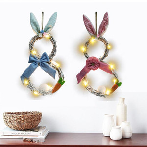Easter Bunny Wreath LED Light Rattan Wreath Garland Craft Decor Home Door Grand Tree Wedding Gift Party Ornament Easter Decoration DHC5639