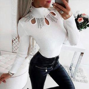 Fashion Rhinestone Turtleneck Blouse Casual Winter Ladies Solid Slim Bottom Tops Female Women Long Sleeve Shirt Blusas Pullover