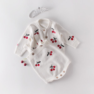 Infants Girls Romper For Newborn Spring Baby Knit Cherry Long Sleeve Sweater Outwear+Cardigan Knitwear Kids Boy Clothes Playsuit Y1113