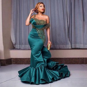 Dark Green Evening Dresses One Shoulder Beaded Sequins Ruffles Satin Long Prom Gown Plus Size Women's Celebrity Party Dress