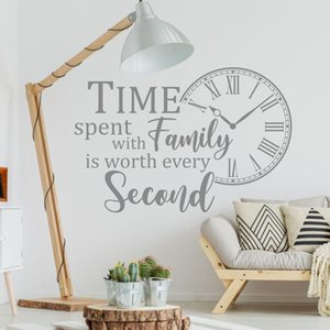 Quote Wall Decal Time Spent with Family is Worth Every Second Vinyl Adhesive Sticker Clock Living Room Home Decoration Art 1829