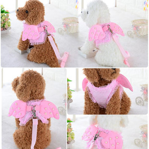 Angel Wing Princess Pet Dog Harness Leashes Puppy Pearl Accessories Adjustable Leashes Size S-L for Small Dogs