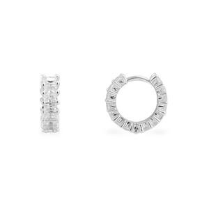 SLJELY Fashion Real 925 Sterling Silver Shine Square Cubic Zirconia Hoop Earrings Women Luxury Elegant Eclat Jewelry