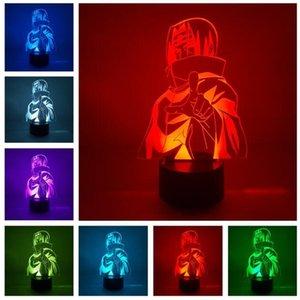 Naruto Kakashi Minato Uchiha Sasuke النمذجة ضوء الليل 7 اللون تغيير الصمام الاطفال السرير تركيبات 3d البصرية أنيمي USB مكتب مصباح الأولاد هدية