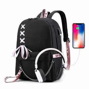 Casual Female Backpack Black Ribbon Laptop Backpack Fashion school bags for teenage girls Kids bagpack Schoolbags for children A1113