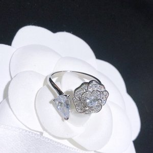 Hot sale new high-end customized camellia full diamond rings wild fashion woman ring