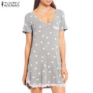 Kaftan Sleepwear Mini Women Lace Patchwork Home Dress Nightwear Printed Short Sleeve Pockets Nightdress ZANZEA Plus Size 5XL
