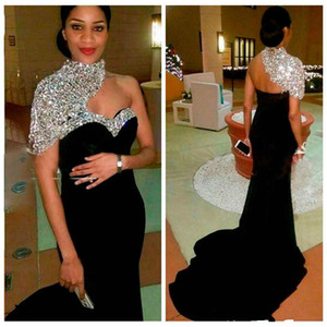 2021 Bling Bling Elegant Black Long Mermaid Evening Dresses High Neck Crystal Beaded Short Sleeves Women Crystal Beaded Formal Prom Gowns