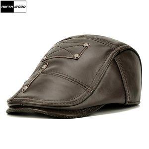 [NORTHWOOD] Brand Genuine Leather Beret Hat Men Brown Cowhide Winter Berets Ear Flaps Plus Velvet Peaked Cap For Men 2020