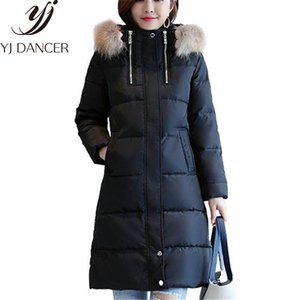 Monclair Winter Women Long Down Jackets Raccoon Fur Collar Loose High-quality Casual Ladies Coat Thicken Warm Female Parka Css353