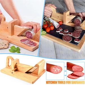 Saucisse en bois coupure de nourriture de chêne naturel Saucisse-slicer avec outil de coupe de viande en acier inoxydable pour la cuisine Camping BWE3443