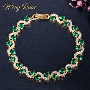 Wong Rain Bohemian 925 Sterling Silber erstellt Moissanite Rubby Smaragd Edelstein Armreif Charm Armbänder Feine Schmuck Großhandel Q1201