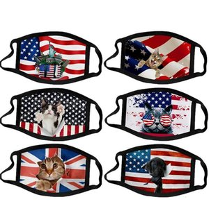 Day 36styles 3D US Flag American Independence Face Mask Washable 2020 Dustproof Mouth Cover Fashion Protective
