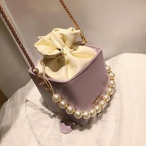 Designer-Solid color Pearl Tote Box bag 2020 Fashion New High quality PU Leather Womens Designer Handbag Shoulder Messenger Bag